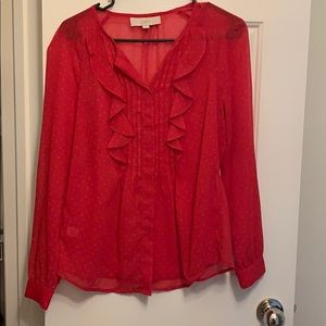 Beautiful raspberry pink blouse with gold stars